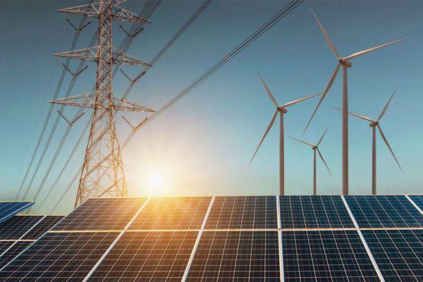 Szene mit Strommasten, Windrädern  und Solar-Paneln