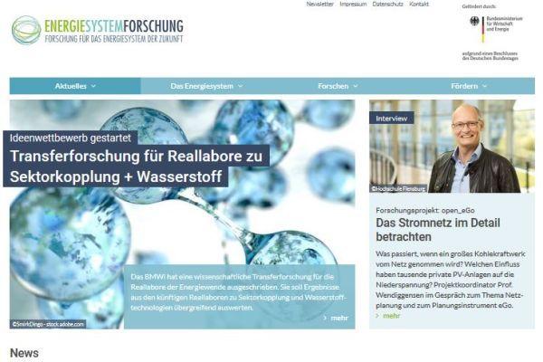 Screenshot der Startseite energiesystem-forschung.de
