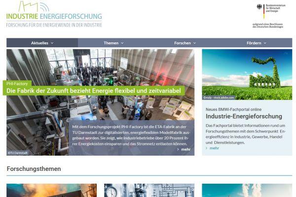 Screenshot der Startseite industrie-energieforschung.de - neues Fachportal ist online