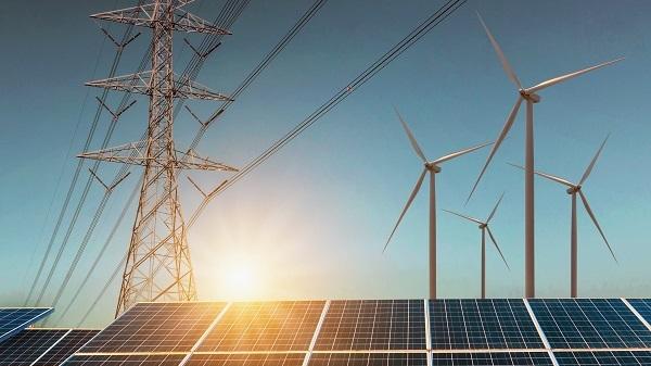 Photovoltaik-Module und Windenergieanlagen plus Stromnetz.